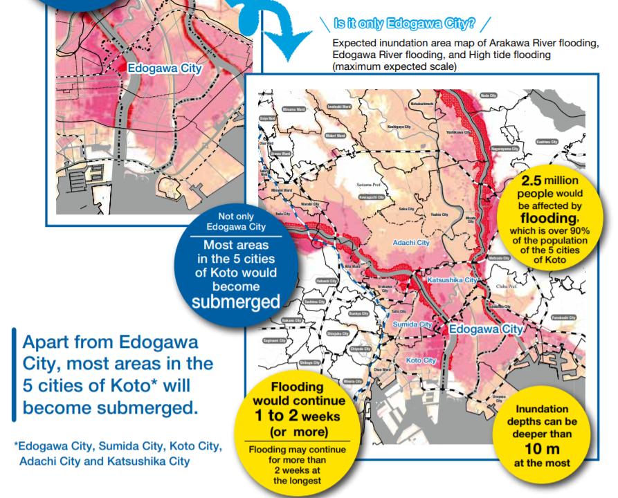 Edogawa-Ku Hazard Map – Flood Disaster (English Version ... on
